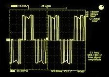Deze oscilloscoopgolfvorm is van de output van een veranderlijke frequentieaandrijving (VFD) die bevoegdheden een ele Stock Afbeeldingen