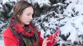 Deze video is over zijaanzichtportret van een opgewekte vrouw die een slimme mobiele telefoon in het park in de winter met behulp stock videobeelden