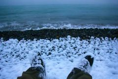 Deze voeten bereikten Colchis aan Oostelijke kust van Euxine (de Zwarte Zee) royalty-vrije stock foto's