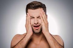 Deze vreselijke hoofdpijn! Royalty-vrije Stock Afbeeldingen