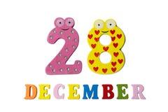 28. Dezember auf weißem Hintergrund, Zahlen und Buchstaben Lizenzfreie Stockfotografie