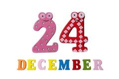 24. Dezember auf weißem Hintergrund, Zahlen und Buchstaben Lizenzfreie Stockbilder