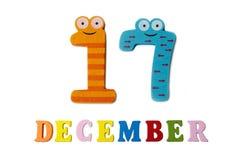 17. Dezember auf weißem Hintergrund, Zahlen und Buchstaben Stockfotografie