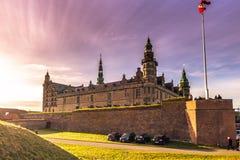 3. Dezember 2016: Das Schloss von Kronborg und von Sonnenlicht, De Lizenzfreies Stockbild