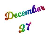 27. Dezember Datum des Monats-Kalenders, machte kalligraphisches 3D Text-Illustration gefärbt mit RGB-Regenbogen-Steigung Stockfotos