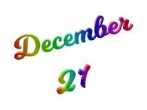 21. Dezember Datum des Monats-Kalenders, machte kalligraphisches 3D Text-Illustration gefärbt mit RGB-Regenbogen-Steigung Stockfotos