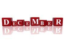 Dezember in den Würfeln 3d Lizenzfreies Stockfoto