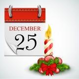 25. Dezember geöffneter Kalender mit Kerze Stockfotos