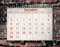 25. Dezember im Kalender stockbilder