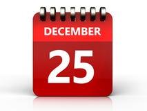 am 25. Dezember Kalender 3d Stockbilder