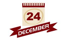 24. Dezember Kalender mit Band Stockfoto