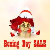 26. Dezember-Verkauf Netter Schneemann, der eine Geschenkbox hält Lizenzfreie Stockbilder