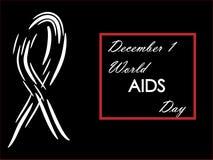 1. Dezember Welt-Aids-Tag auf einem schwarzen Hintergrund Stockbild