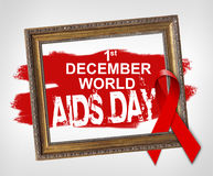 1. Dezember Welt-Aids-Tag, Welt-Aids-Tag-Konzept mit rotem Band Lizenzfreie Stockfotos