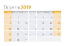 dezembro Planejador 2019 do calendário no estilo simples da tabela mínima limpa Ilustração do vetor ilustração do vetor
