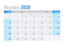 dezembro Planejador 2020 do calendário no estilo simples da tabela mínima limpa Ilustração do vetor ilustração royalty free