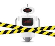 Dezerteruje robot z błędu kodem i ostrzegawczą taśmą ilustracji