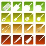Dezesseis ícones de cozimento ilustração stock