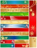 Dezesseis bandeiras coloridas do feriado do Natal Foto de Stock Royalty Free