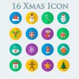 Dezesseis de ícones do Natal ao estilo do plano Imagens de Stock