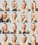 Dezesseis expressões faciais de uma mulher Imagem de Stock Royalty Free