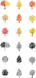 Dezoito Autumn Tree Icons Foto de Stock Royalty Free