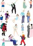 Dezoito silhuetas coloridas dos povos Fotos de Stock Royalty Free