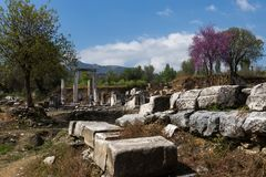 Ancient city of lagina in mugla. Ancient city of lagina. nthis is the temple of the moon goddess Hecate royalty free stock photography