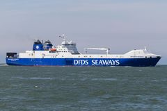 BRITANNIA SEAWAYS inbound Rotterdam. DFDS Seaways is a large Danish shipping company operating passenger and freight services across Northern Europe stock image