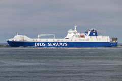 SUECIA SEAWAYS outbound Rotterdam. DFDS Seaways is a large Danish shipping company operating passenger and freight services across Northern Europe royalty free stock photography