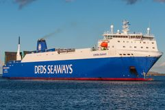 DFDS Seaways RORO cargo ferry Corona Seaways. Copenhagen Denmark - September 23. 2013: DFDS Seaways RORO cargo ferry Corona Seaways stock image