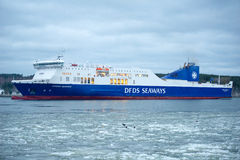 DFDS SEAWAYS ship ATHENA in Klaipeda harbor Royalty Free Stock Photos