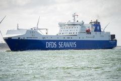 DFDS SEAWAYS ship Brittania in Rotterdam harbor. ROTTERDAM, THE NETHERLANDS - September 7, 2017: DFDS SEAWAYS ship Brittania in Rotterdam harbor. DFDS SEAWAYS is royalty free stock image