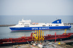 DFDS SEAWAYS ship OPTIMA entering Klaipeda harbor Royalty Free Stock Photo