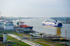 DFDS SEAWAYS ship OPTIMA entering Klaipeda harbour Royalty Free Stock Photography