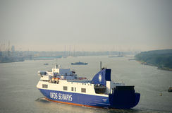 DFDS SEAWAYS ship OPTIMA entering Klaipeda harbour Royalty Free Stock Image