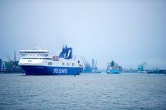 DFDS SEAWAYS ship OPTIMA in Klaipeda harbor. KLAIPEDA, LITHUANIA - MAY 31: DFDS SEAWAYS ship OPTIMA in Klaipeda harbor on May 31, 2014 Klaipeda, Lithuania. DFDS stock photo