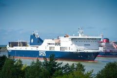 DFDS SEAWAYS ship Victoria in Klaipeda harbor. KLAIPEDA, LITHUANIA - JULY 29: DFDS SEAWAYS ship Victoria in Klaipeda harbor on July 29, 2017 Klaipeda, Lithuania stock photo
