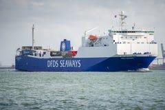 DFDS-SEEWEG-Schiff Anglia in Rotterdam-Hafen Stockbild