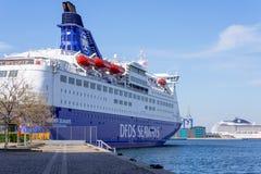 DFDS ship CROWN SEAWAYS in Copenhagen harbor. COPENHAGEN, DENMARK - MAY 18: DFDS ship CROWN SEAWAYS in Copenhagen harbour on MAY 18, 2013 DFDS SEAWAYS is stock image