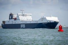 DFDS-ZEEWEGENschip SELANDIA in de haven van Rotterdam Royalty-vrije Stock Foto