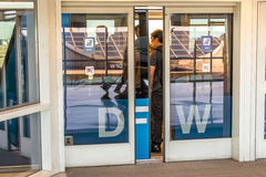DFW airport - passengers in the Skylink station Royalty Free Stock Photo