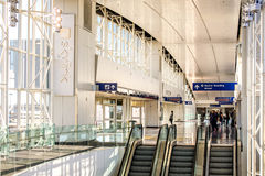 DFW airport - passengers in the Skylink station Stock Photos