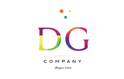 dg d g creative rainbow colors alphabet letter logo icon stock illustration