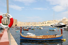 Dghajsa moored at Senglea Royalty Free Stock Photo