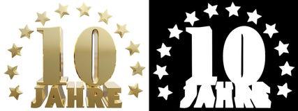 Dígito dourado dez e a palavra do ano, decorada com estrelas Traduzido do alemão ilustração 3D Imagens de Stock