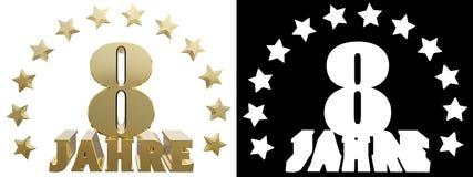 Dígito dourado oito e a palavra do ano, decorada com estrelas Traduzido do alemão ilustração 3D Imagens de Stock