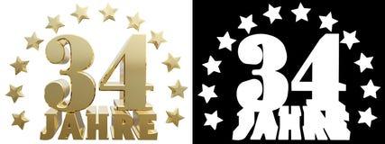 Dígito dourado trinta e quatro e a palavra do ano, decorada com estrelas Traduzido do alemão ilustração 3D Fotos de Stock Royalty Free