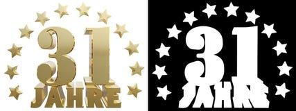 Dígito dourado trinta um e a palavra do ano, decorada com estrelas Traduzido do alemão ilustração 3D Imagem de Stock Royalty Free