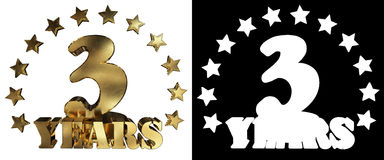 Dígito dourado três e a palavra do ano, decorada com estrelas ilustração 3D Imagem de Stock Royalty Free